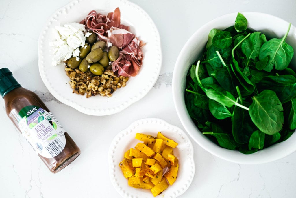 harvest spinach salad ingredients