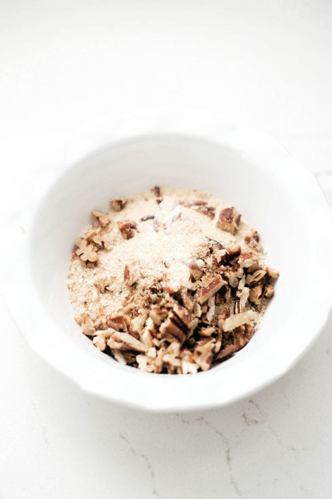 white bowl with Panko and pecans
