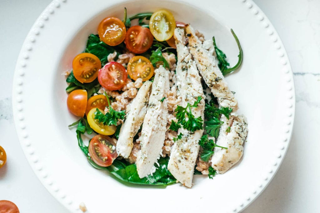 bowl of sliced chicken breast