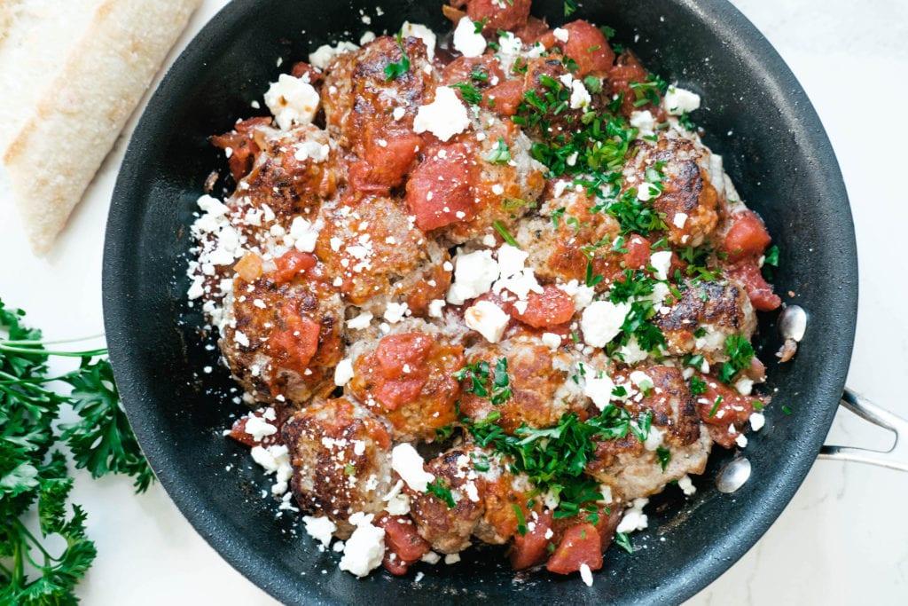 skillet of bruschetta turkey meatballs
