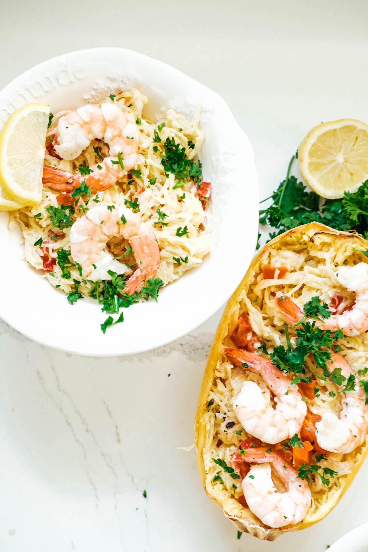 bowl of shrimp and cheesy red pepper stuffed spaghetti squash
