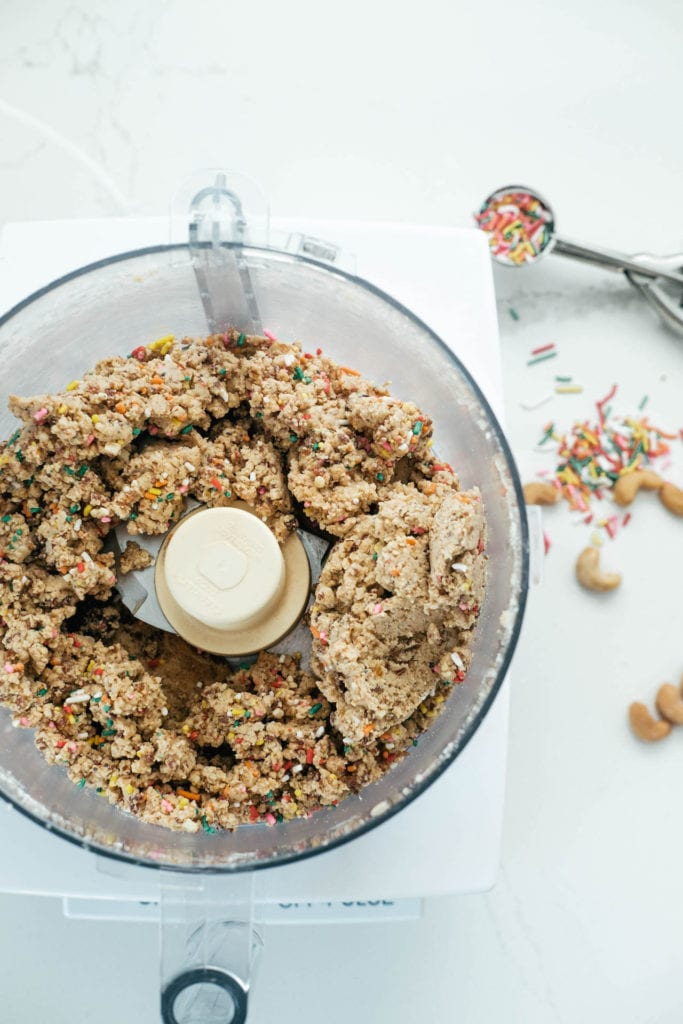 cookie dough in a food processor