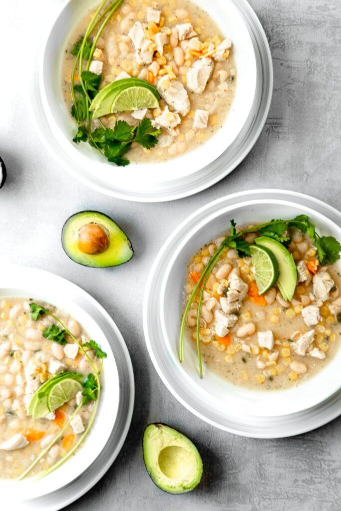 bowls of white chicken chili