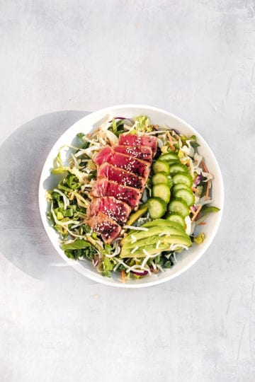 simplesearedahituna in a bowl with salad