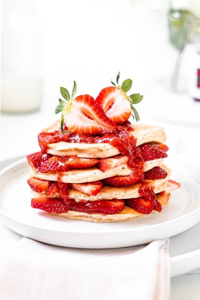 strawberry pancake stack