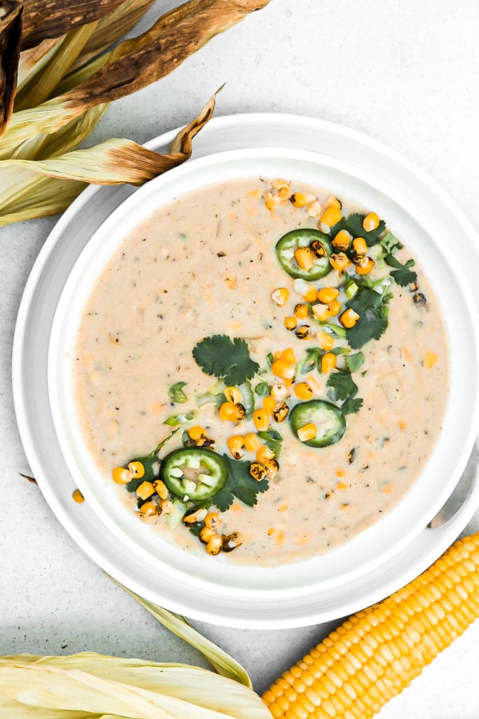 bowl of roasted corn chowder