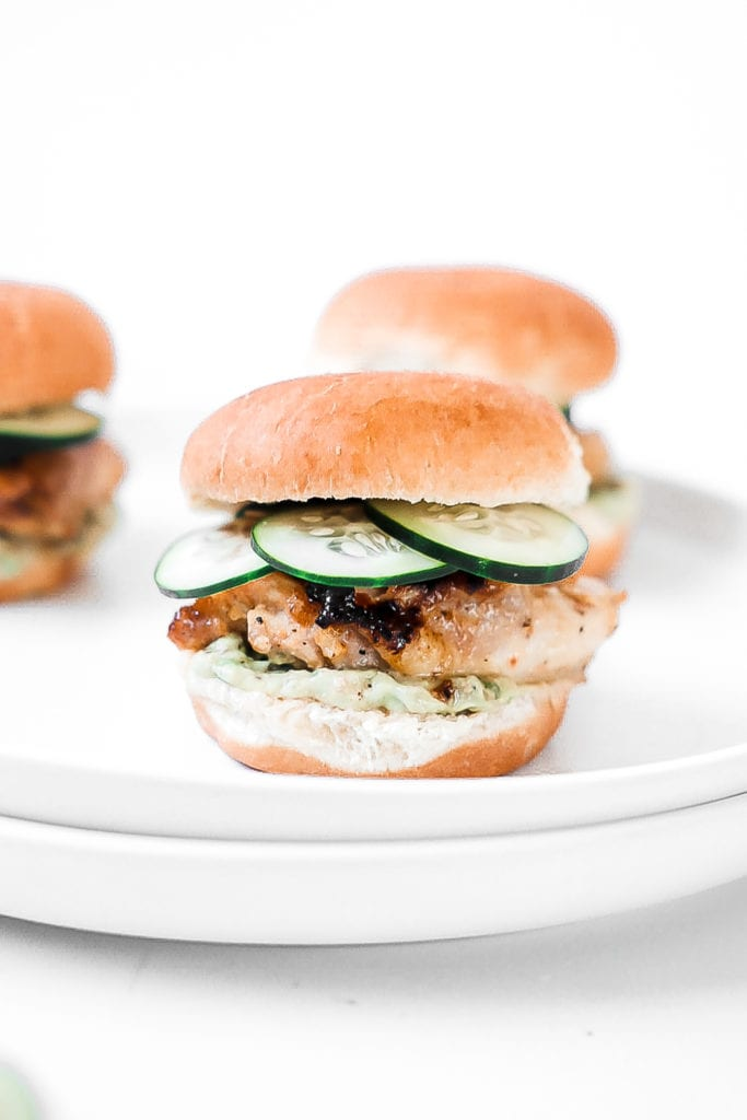 plate of grilled chicken sliders