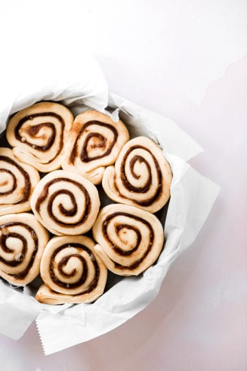 pan of cinnamon rolls