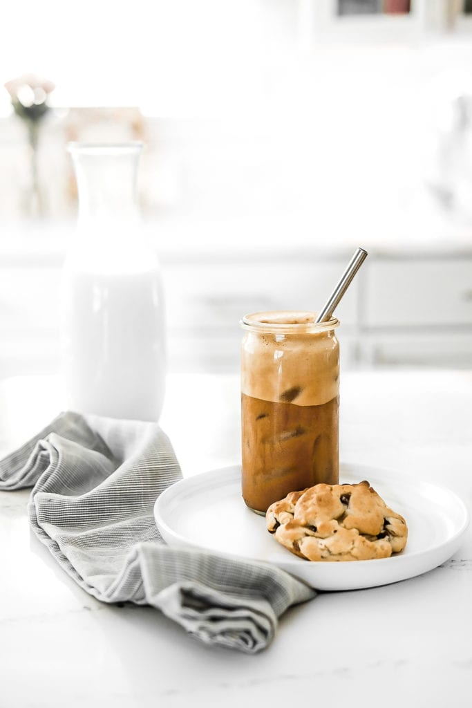 iced coffee and chocolate chip cookie