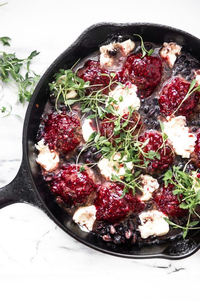 raspberry black bean meatball skillet