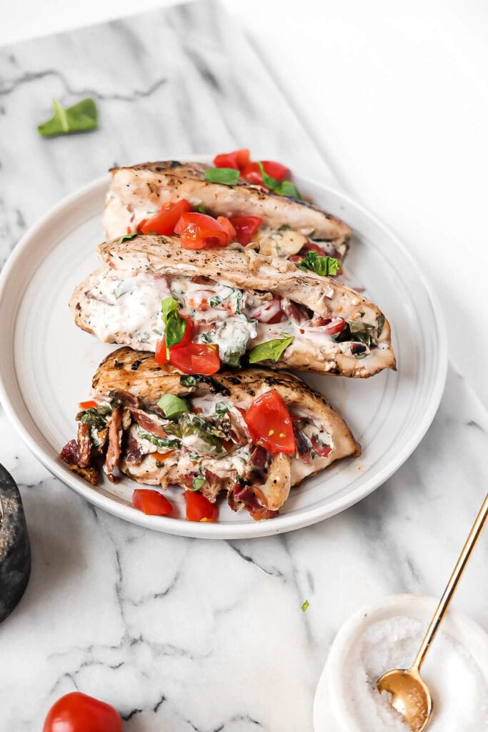 bacon, lettuce, tomato stuffed chicken breast
