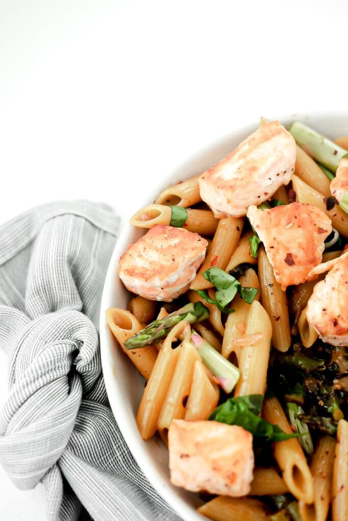 close up of salmon penne pasta