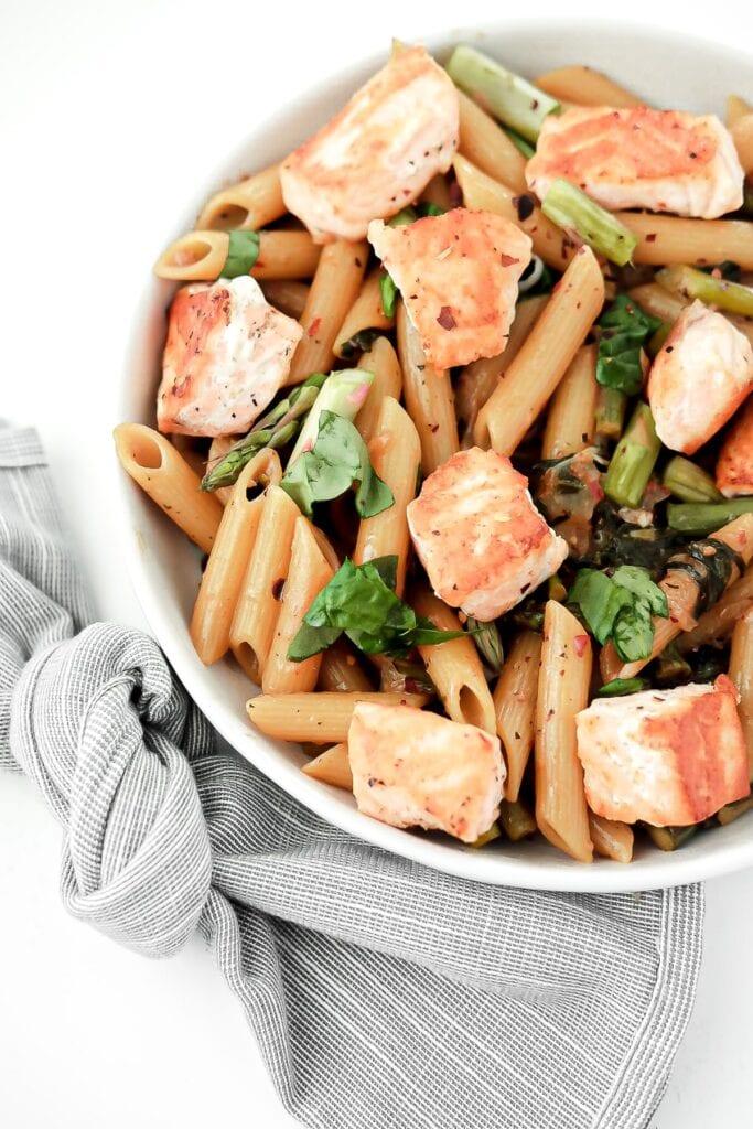 salmon spinach pasta