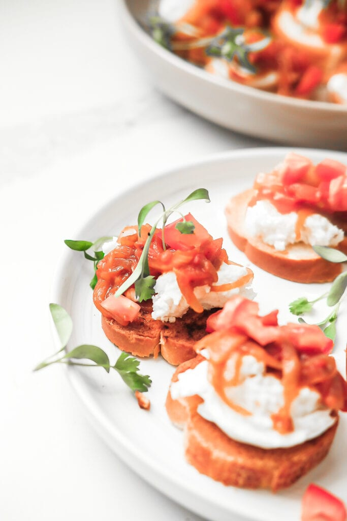 tomato and onion bruschetta with micro green garnish