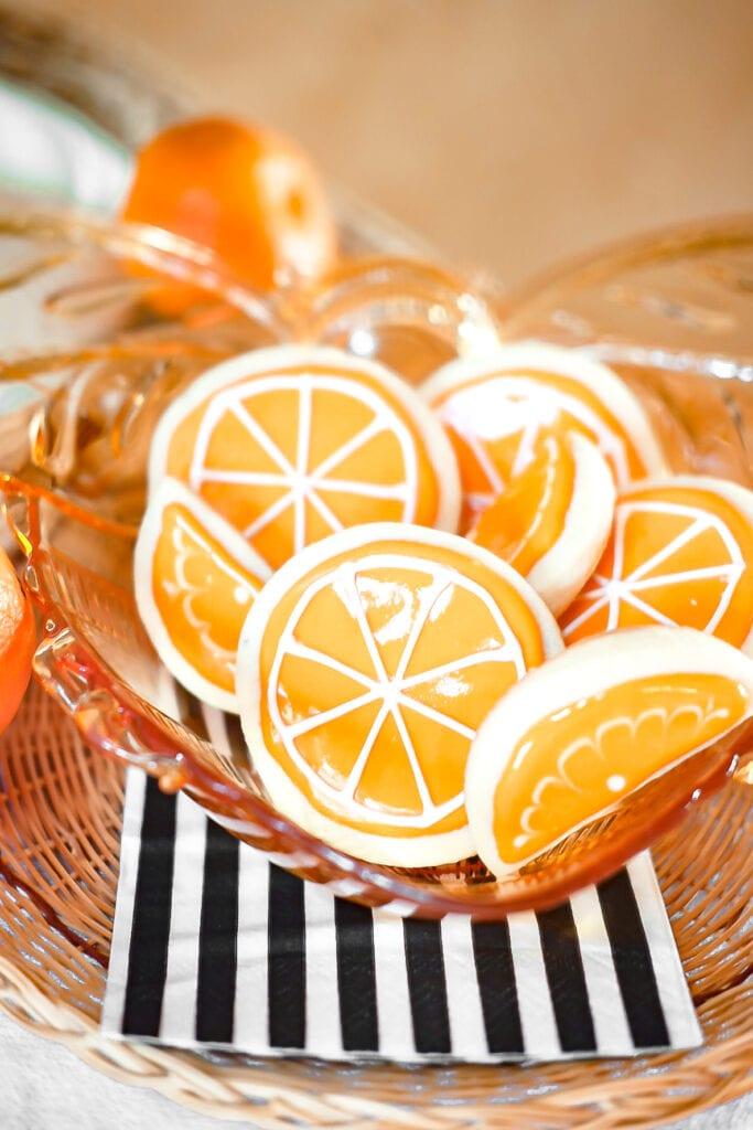 orange decorated cookies