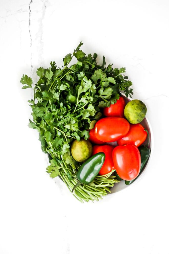 bowl of garden veggies for salsa