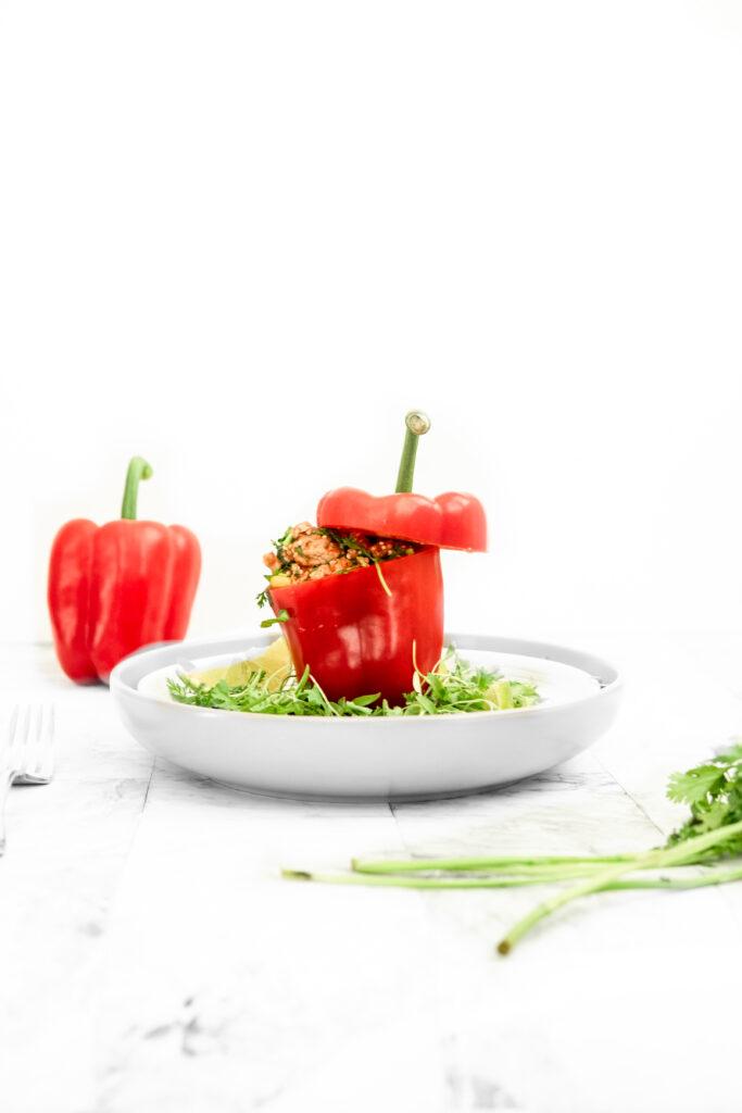 turkey taco skillet stuffed in a red pepper