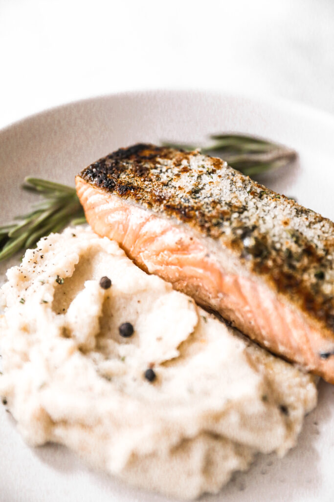close up of crispy rosemary salmon