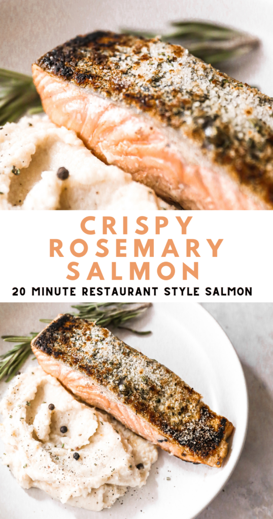 crispy rosemary salmon pin image
