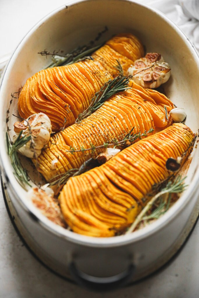 roasted hasselback butternut squash with herbs and garlic