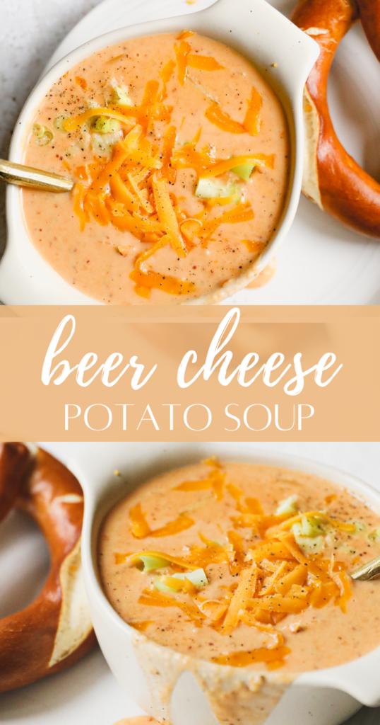 beer cheese potato soup pin image