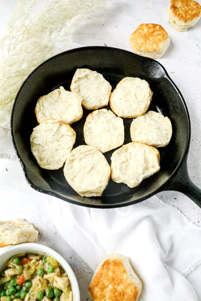bottoms of biscuits in cast iron skillet