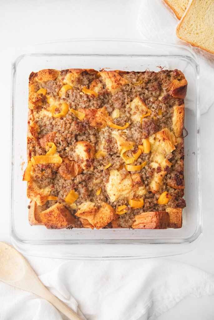 sausage breakfast bake in a clear pyrex dish after baking