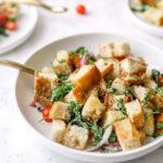 Bowl of garlic kale panzanella salad