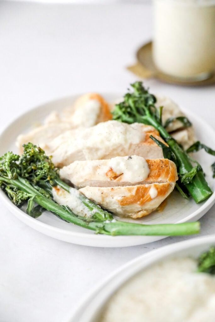 sliced chicken with cauliflower Alfredo