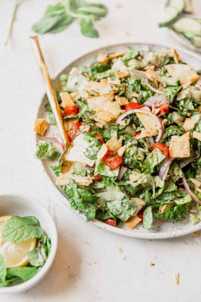 bowl of fattoush salad