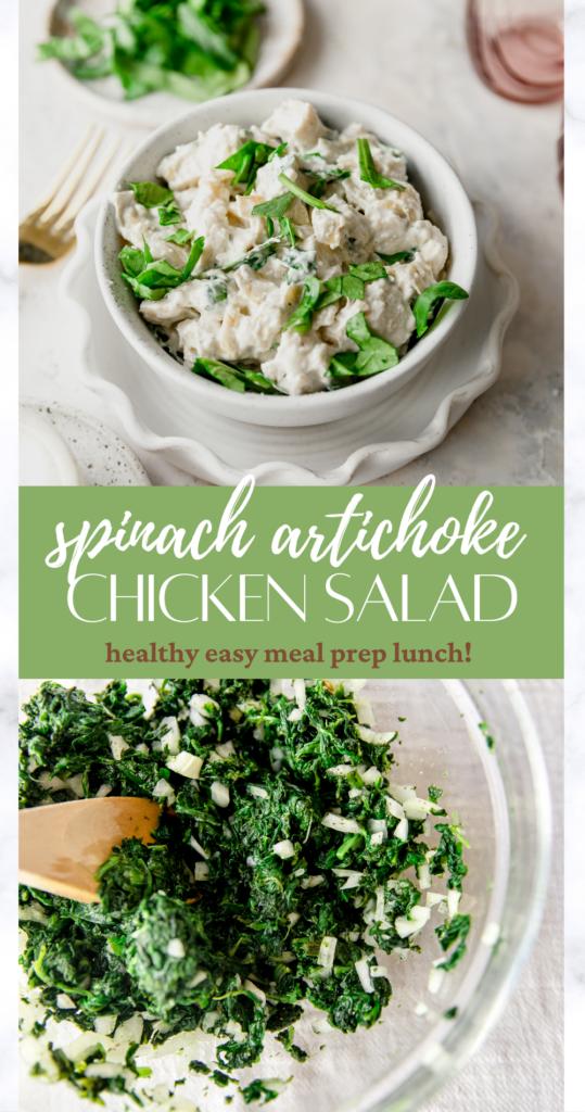 spinach artichoke chicken salad pin image
