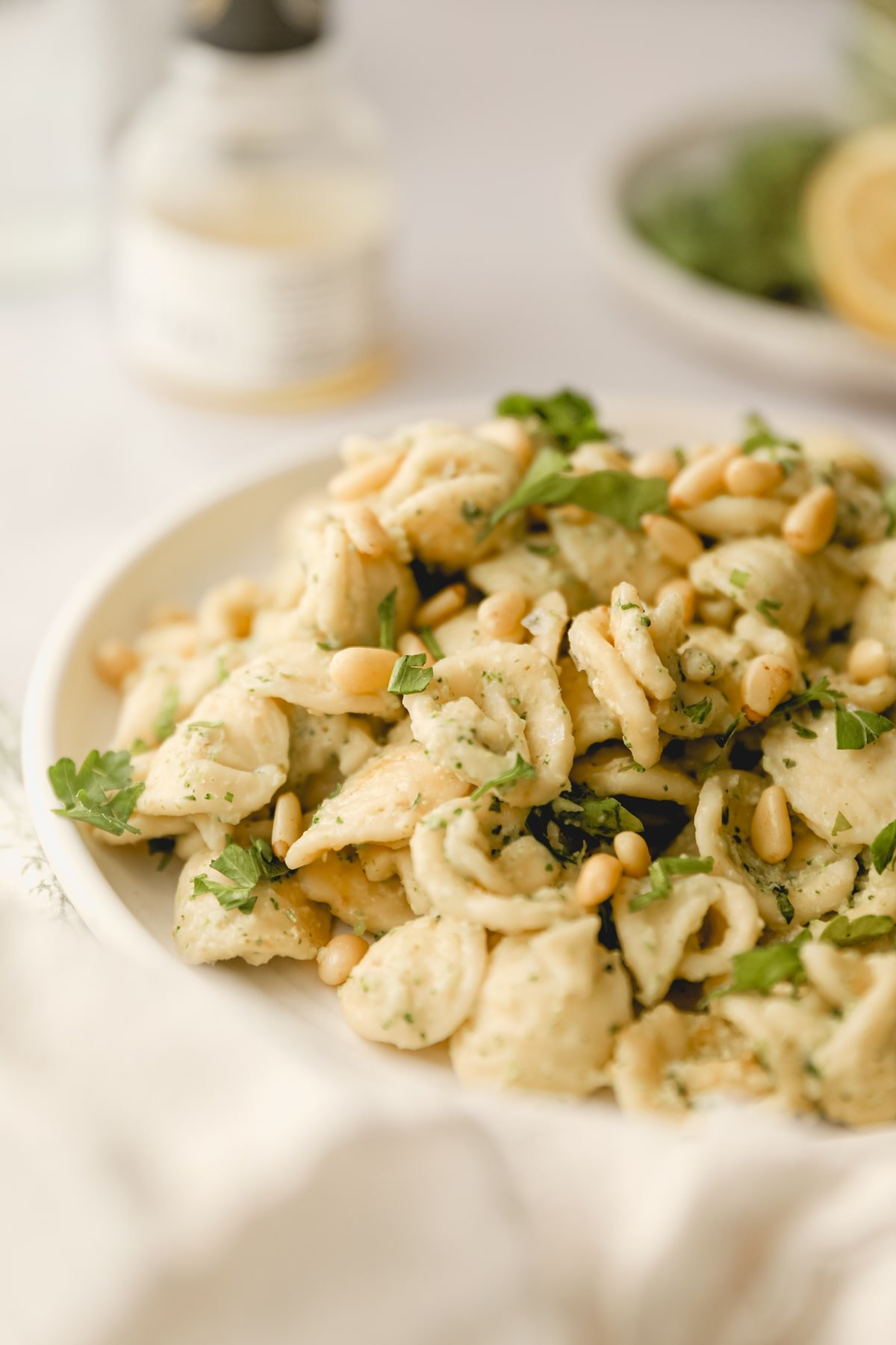 close up of broccoli pesto on pasta topped with pine nuts