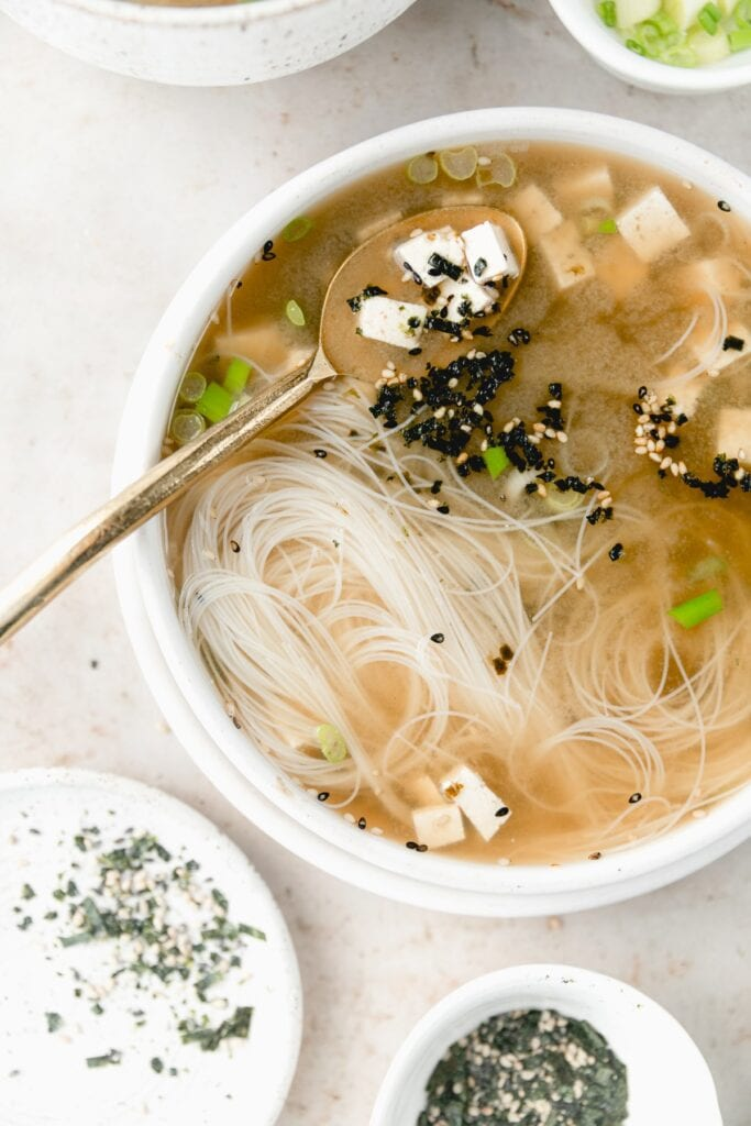 white bowl with miso soup