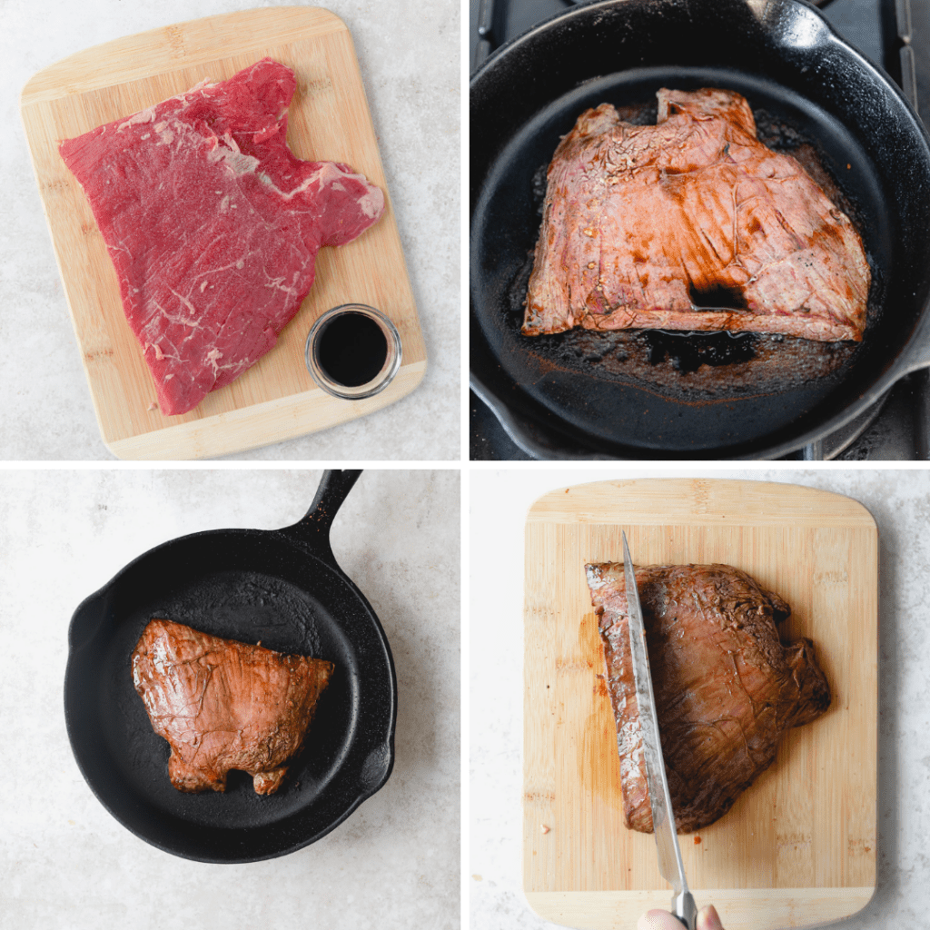 the steps of pan searing flank steak in a collage .