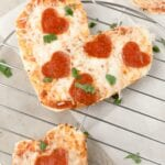 tortilla pizzas shaped like hearts