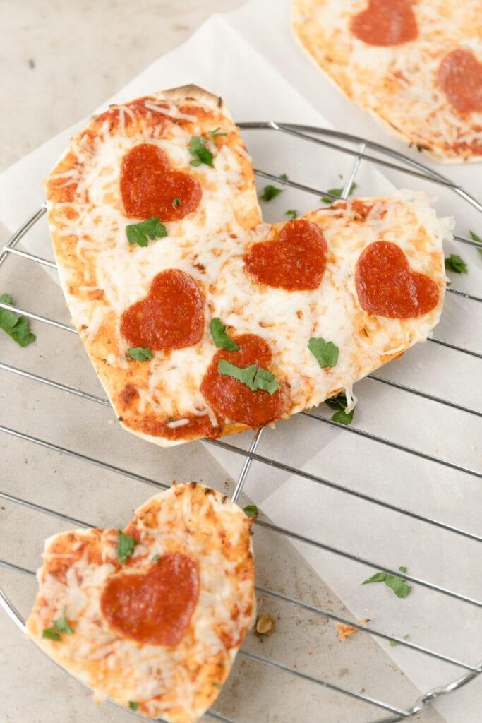 tortilla pizzas shaped like hearts