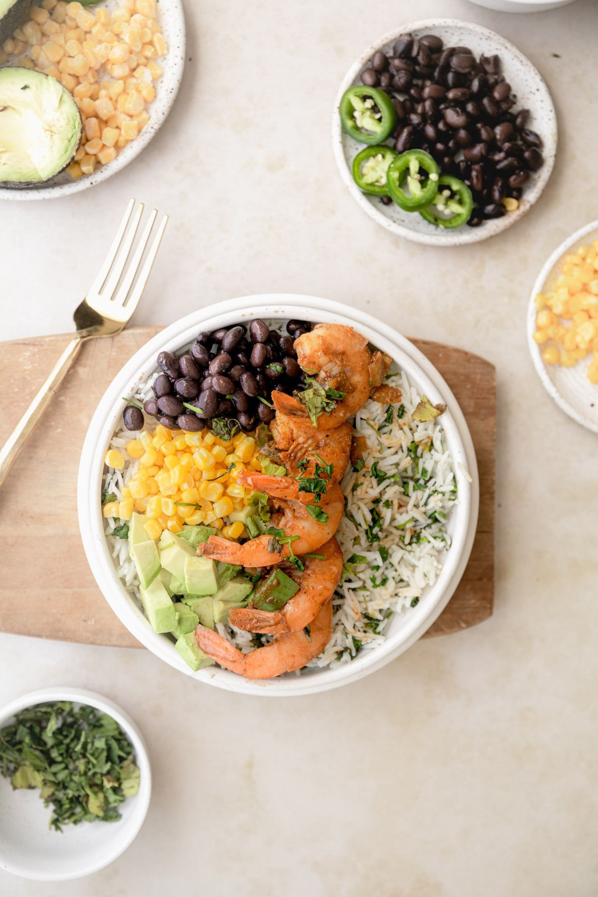 Loaded healthy burrito bowl with shrimp