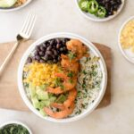 healthy burrito bowl with southwest shrimp