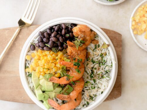 healthy burrito bowl with southwest shrimp