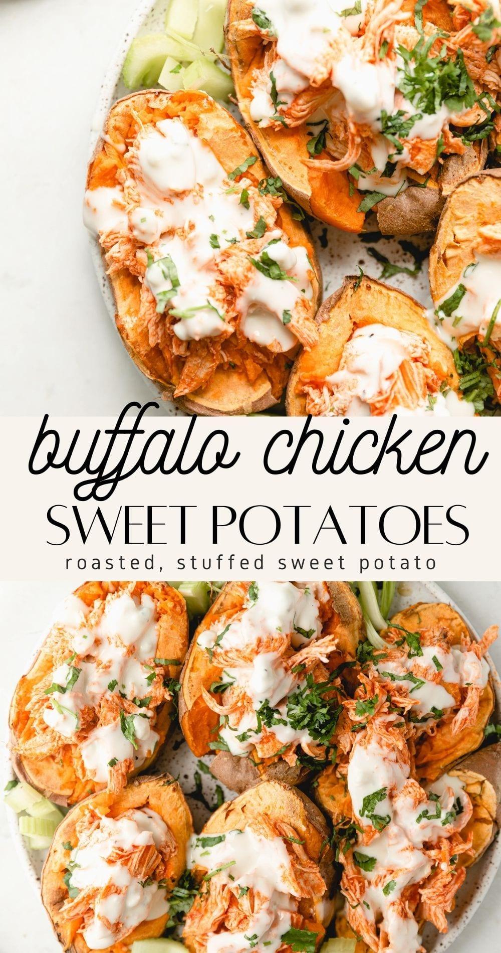 shredded buffalo chicken stuffed sweet potato pin image