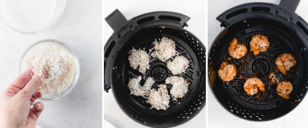 breading shrimp in coconut and air frying process shots