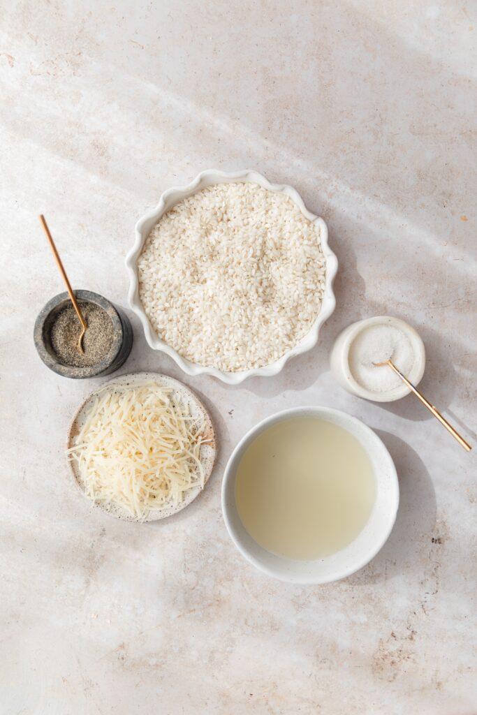 ingredients for risotto cacio e pepe