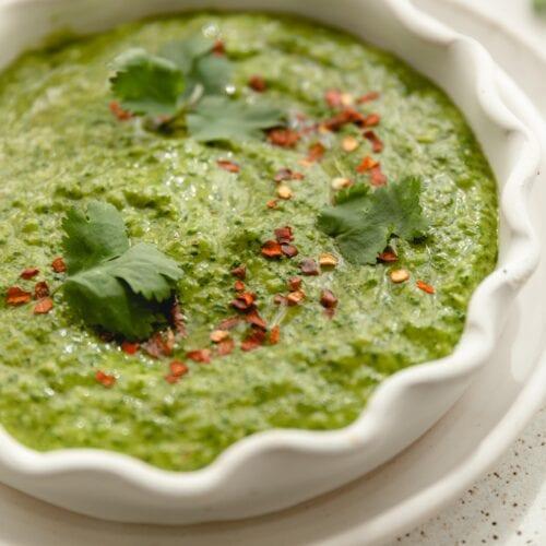 bowl of Chimichurri sauce close up