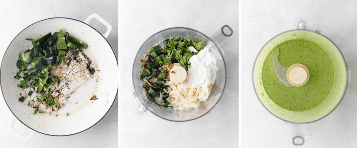 process shots in a collage of how to make creamy poblano sauce