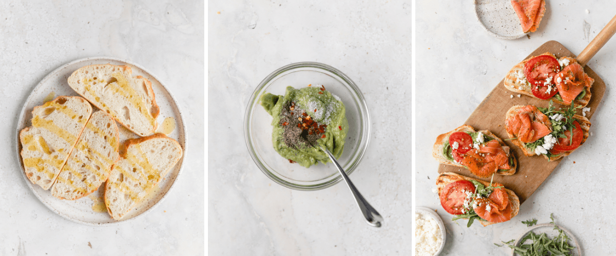 process shots for making salmon avocado toast