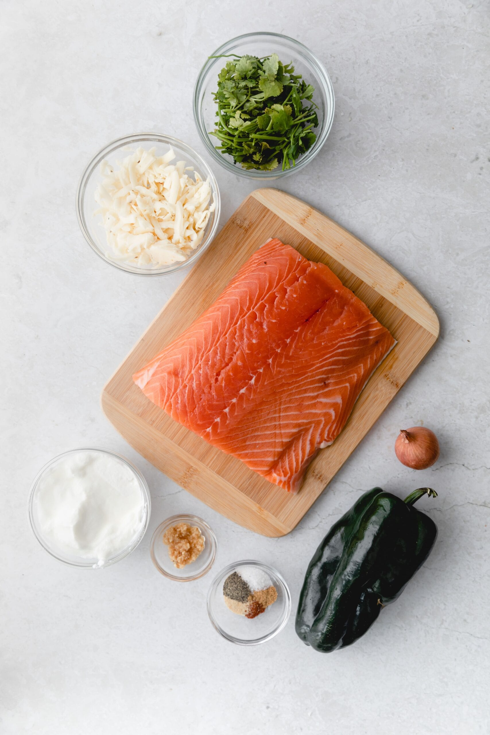 Ingredients for poblano sauce with salmon
