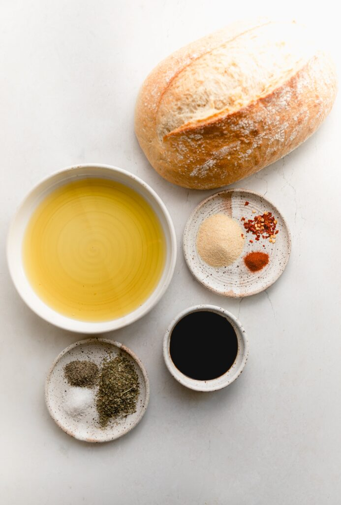 ingredients for bread dipping oil