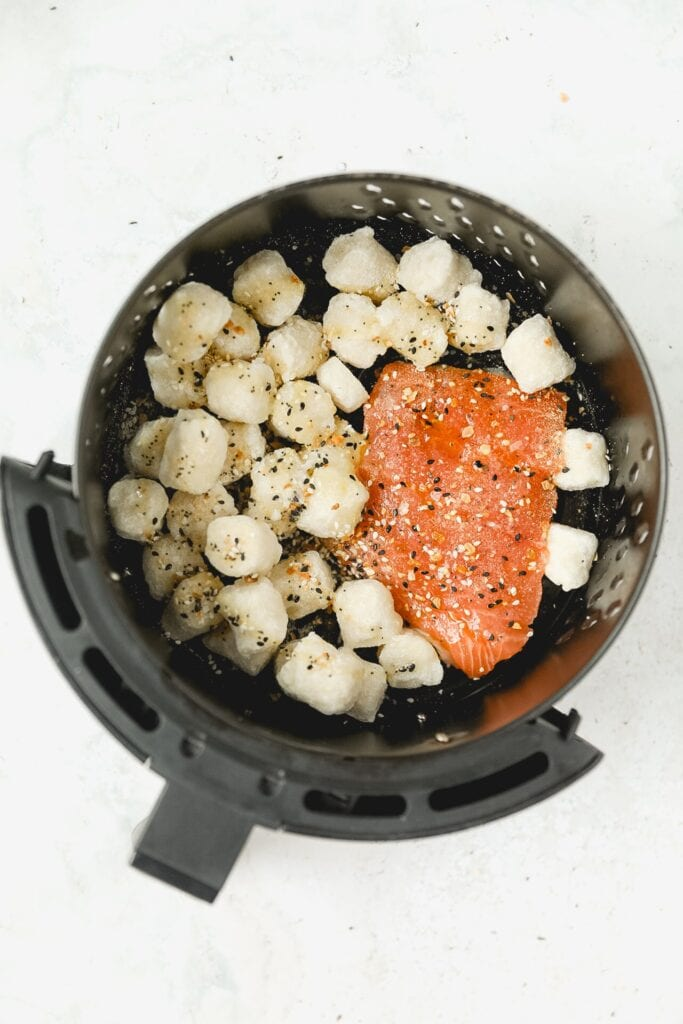 gnocchi and salmon in air fryer basket