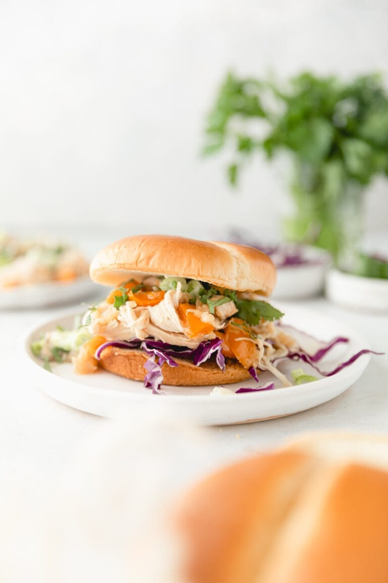 shredded Hawaiian chicken on a brioche bun