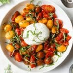 white bowl with blistered cherry tomatoes and a ball of burrata